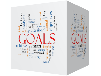 Goals word cloud written on a cube